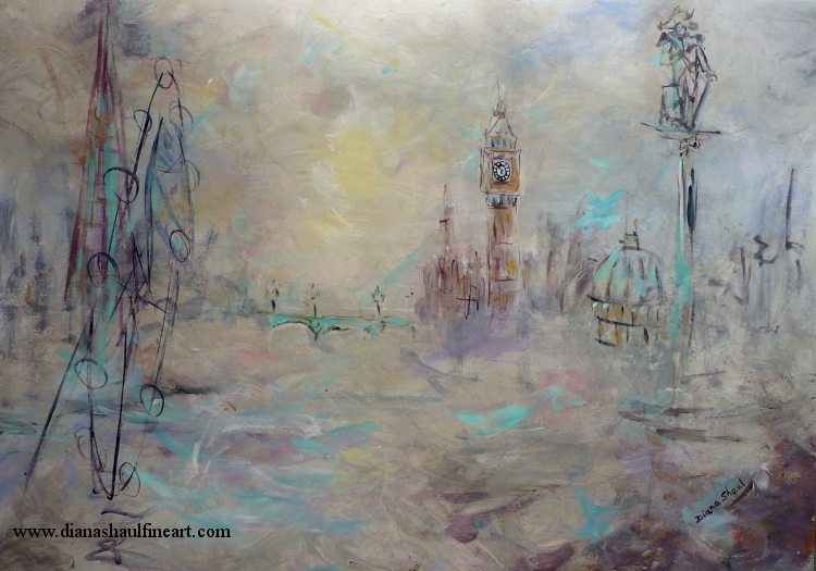 An acrylic painting of London under cloudy skies, in gentle tones.