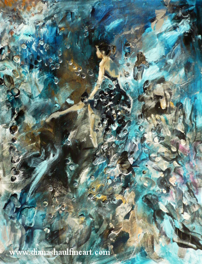 Painting of a ballerina seated, against an abstract background in shades of teal, black and gold.