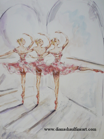 Original painting depicting three ballerinas in pink tutus at the barre.