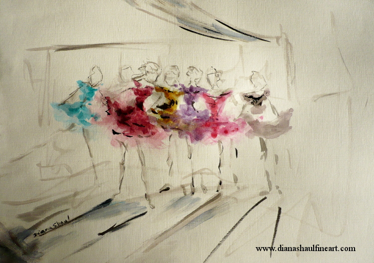 Original painting of a line of ballerinas, each dancer in a jewel-coloured tutu.