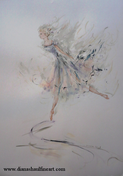 Soft-toned painting of a determined ballerina in profile, balanced en pointe.