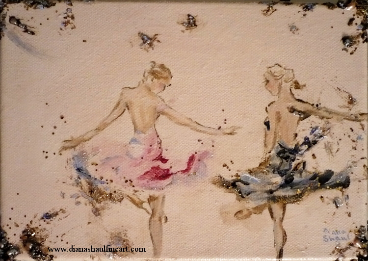 Original semi-abstract painting of two ballerinas rehearsing in the studio.