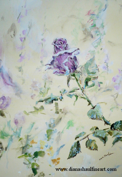 Original painting of an autumn-blooming light purple rose, other flowers in the background.