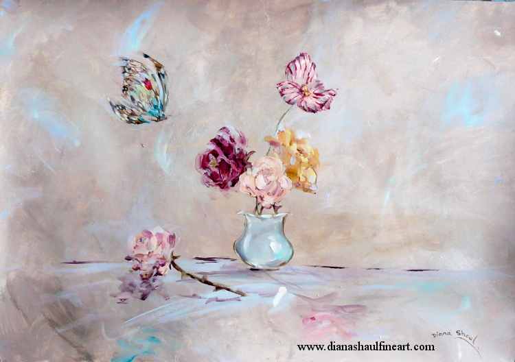 A butterfly prepares to alight on a vase of flowers. Original painting in acrylic.