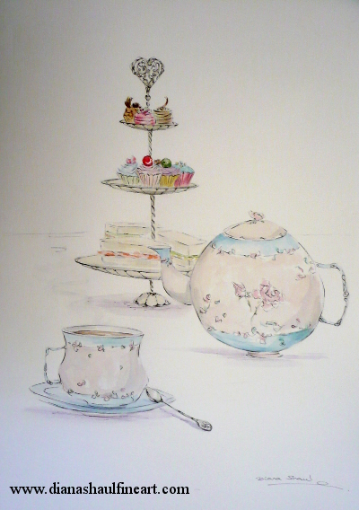 Still life depicting a teapot, a cup of tea, and a stand laden with sandwiches and cakes.