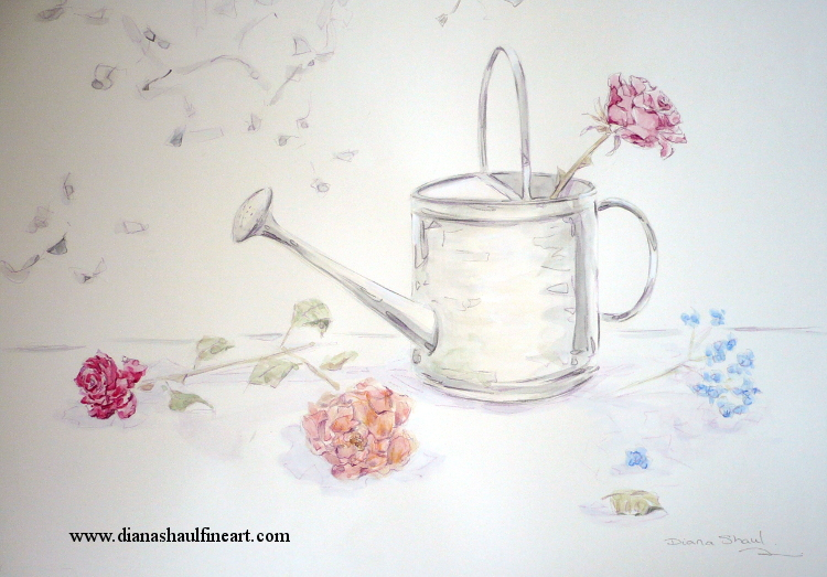 Original still life depicting a watering can and a few flowers.