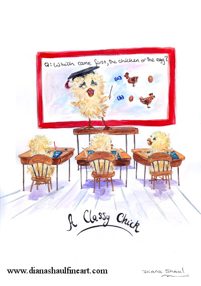 A cartoon chick teaches a philosophy class. Original cartoon with caption 'A Classy Chick'.'