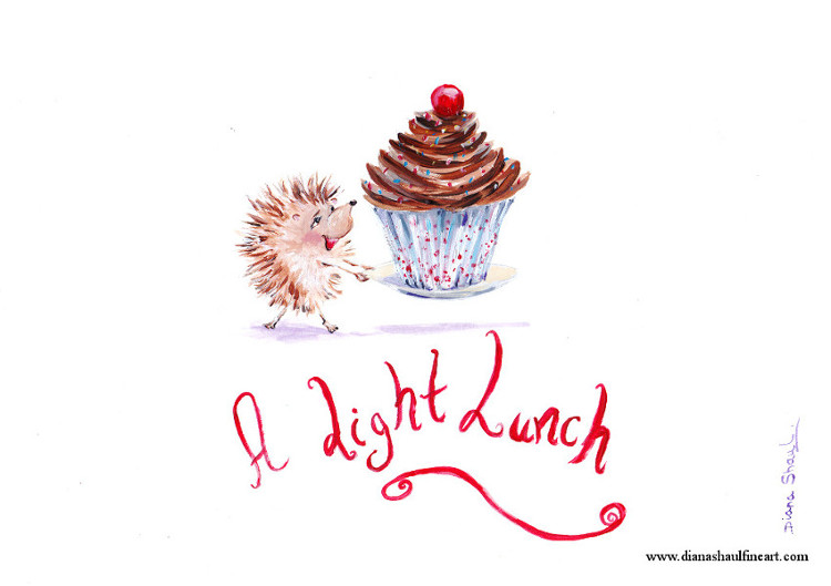 A little hedgehog carries an enormous cupcake; caption: 'A Light Lunch'.