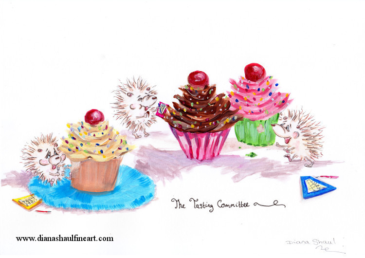 Original cartoon featuring hedgehogs tasting cupcakes; caption: 'The Tasting Committee'.