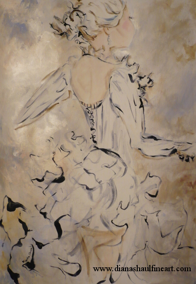 Original painting in gold tones of a young woman in a beautiful ruffled dress.
