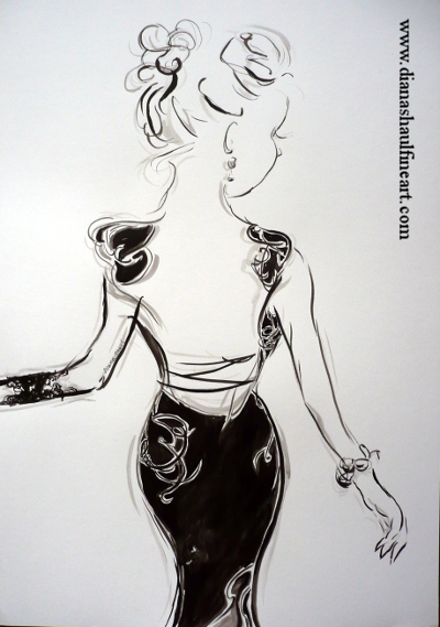 Ink and pencil monochrome study of a woman in a black evening dress.