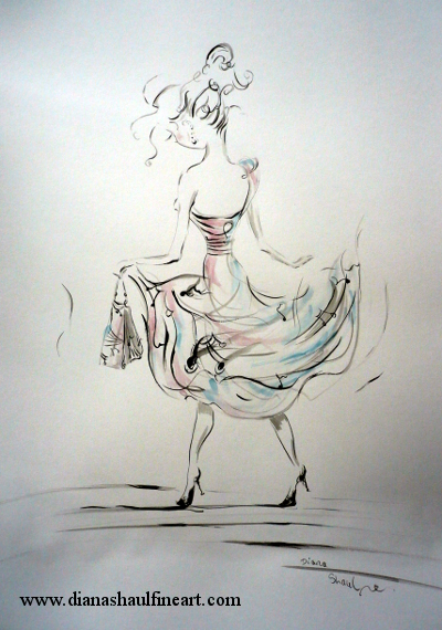 Drawing of a woman wearing a dress decorated with musical notes.