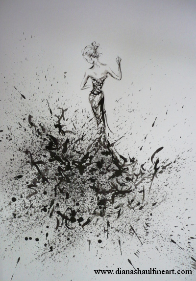Monochrome painting of a woman dancing, created using a 'controlled chaos' technique.