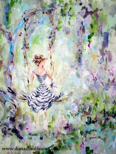 Impressionistic painting of a woman sitting on a swing in a garden.