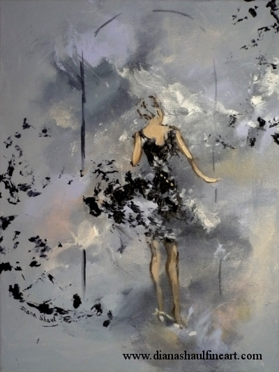 Original semi-abstract painting of a woman in a black cocktail dress answering the door.