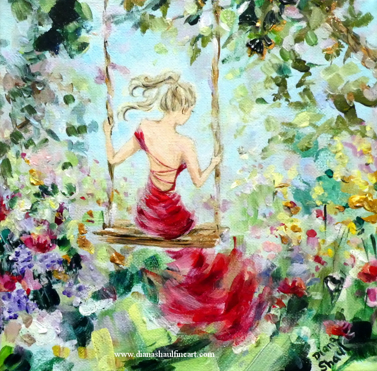 A young woman wearing a long red evening gown sits on a swing in a flower-filled summer garden. Original painting.