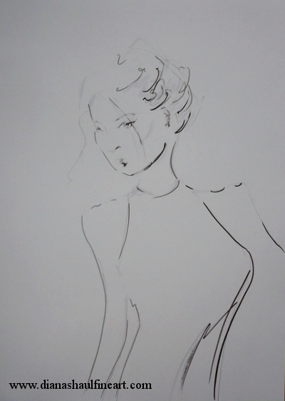 Monochrome drawing of a woman hurt, yet defiant, in ink and pencil.