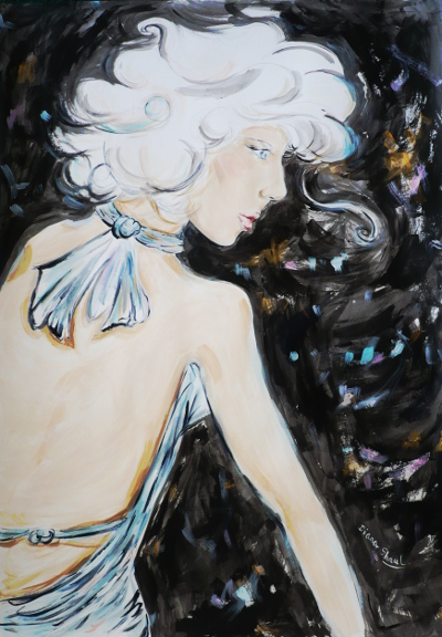 A dramatic painting of a platinum-haired beauty against a black background.