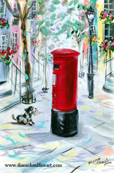 A dog looks up hopefully at a red postbox, an envelope in his mouth. Original painting.