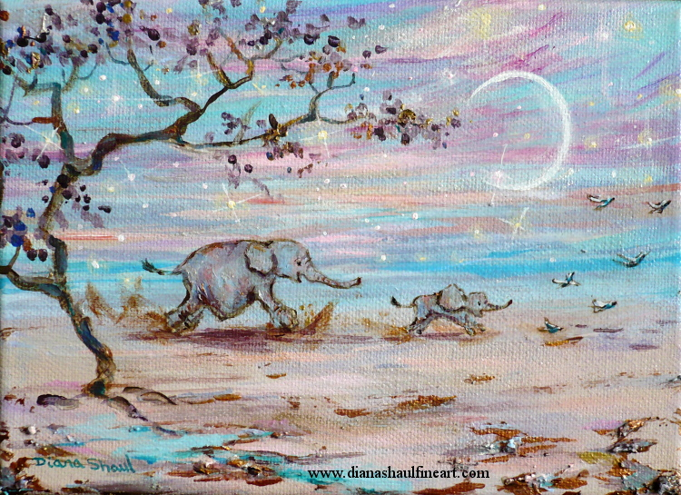 Baby elephant chases the birds. Mother elephant chases her baby. Original painting.