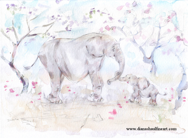 A baby elephant winds her trunk around her mother's in this original painting.