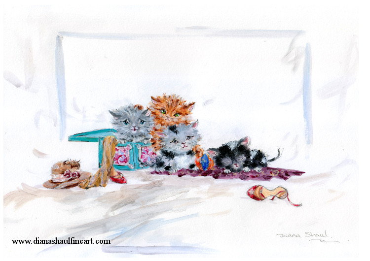 Adorable original painting of four fluffy little kittens with a pair of shoes and a hat.