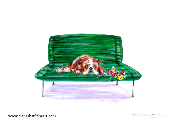 Original painting of a British bulldog lying on a bench, a posy of flowers in his paw.