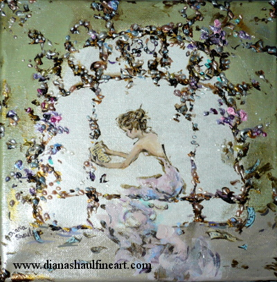 Original painting in pastel colours of a woman holding a manuscript page, other pages scattered around her.