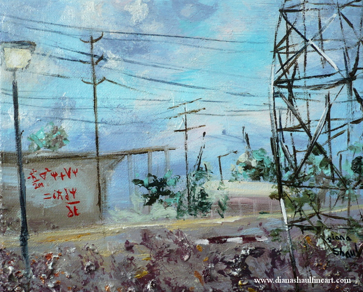 Original painting of an industrial view featuring Schrodinger's equation as graffiti.