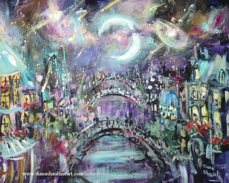 Original painting of the bridges over the river that cuts through a city, under a moonlit sky.