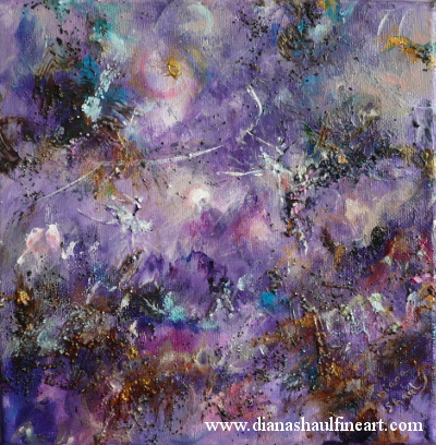 Two ballerinas in an abstract landscape dominated by shades of purple.