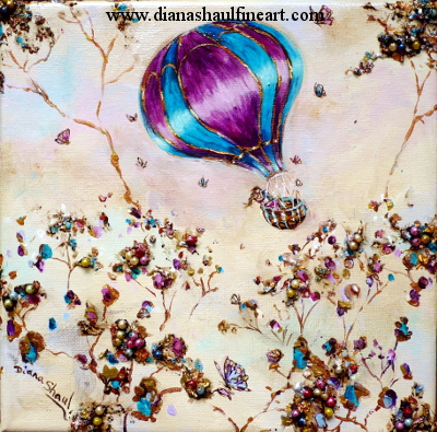 Original painting of a young couple embracing in a hot-air balloon, butterflies all around them.