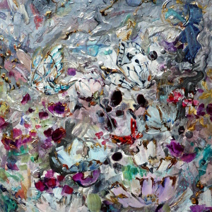 Original semi-abstract painting depicting flowers and butterflies in silvery and jewel-coloured tones.