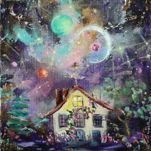 A young woman balances on the apex of the roof of her house and touches the stars. Original painting.
