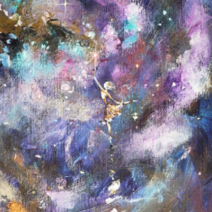 A tiny ballerina executes an arabesque in a purple starry sky. Original painting in acrylic.