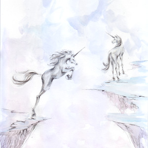 Original painting in soft shades of two unicorns on cliffs separated by a chasm.