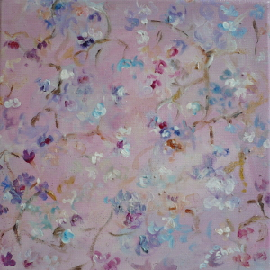 Fragile blossoms turn the world pink in this semi-abstract painting.