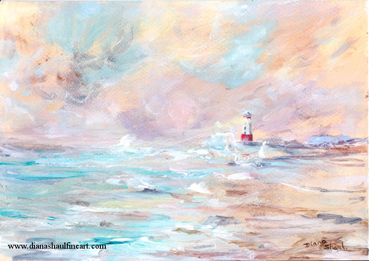 Original painting of the coast in gold tones, featuring a red and white lighthouse.