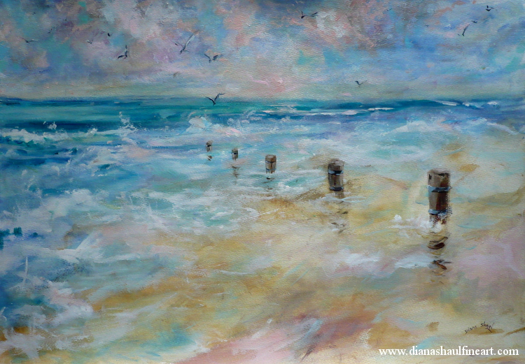 Original acrylic depicting an empty beach at dawn, seagulls overhead.