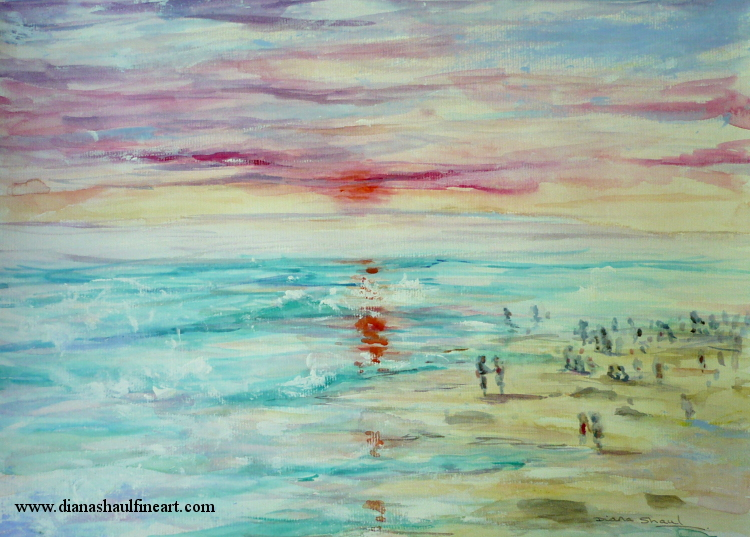 Original painting depicting small figures on the beach as the sun sets.