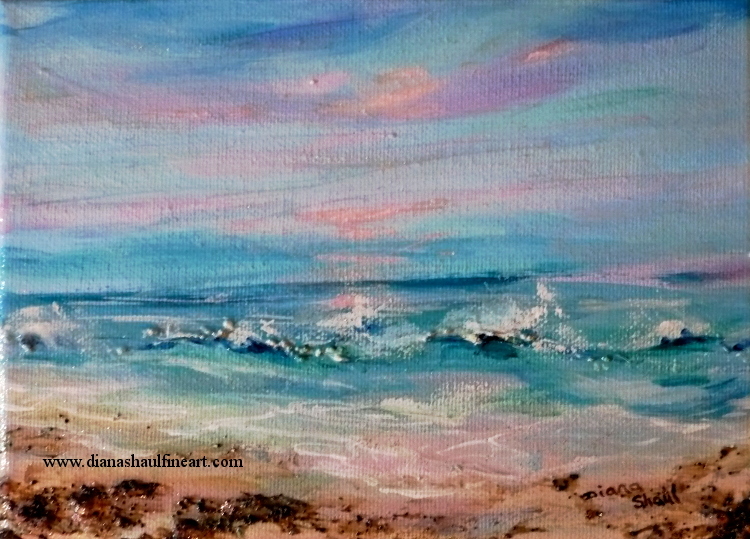 Original seascape depicting a soft pink sunrise over the ocean.