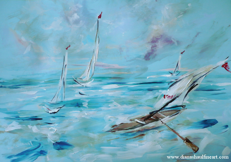 Original painting featuring a boat with a sail and oars the water's edge.