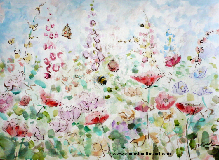Original painting of a beautiful meadow on a summer day, with wildflowers, bees and butterflies.