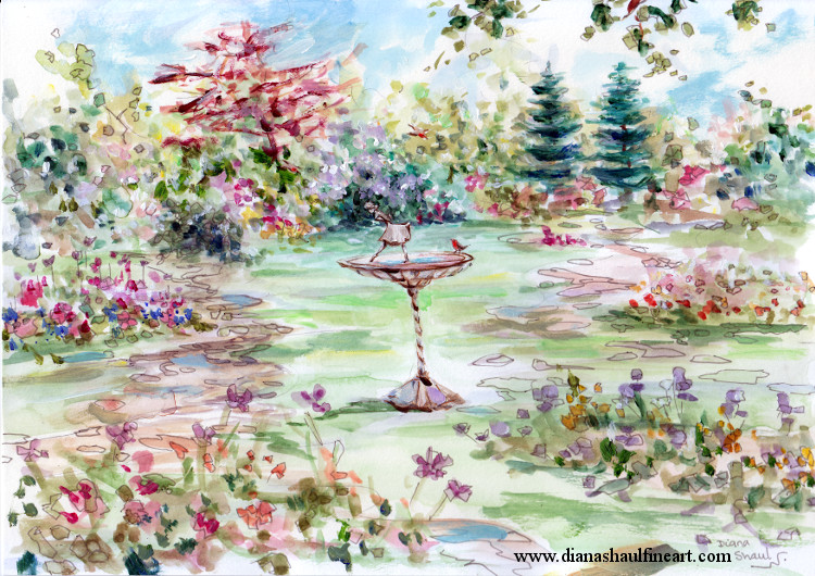 At the centre of this beautiful garden, a robin has alighted on the central fountain that features a ballerina statue. Original painting.