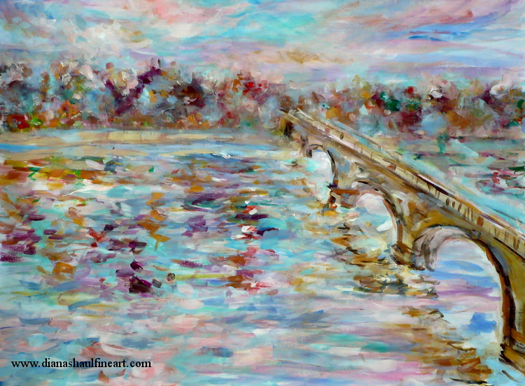 Original painting in rich, vivid colours of London's Serpentine Bridge in autumn.