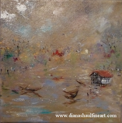 Original painting inspired by the boathouse on Hyde Park's Serpentine.