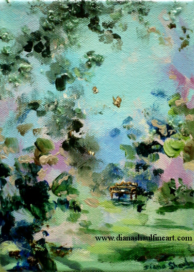 A mini landscape painting featuring a little bench and golden butterflies.