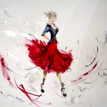 Frills 'n' Ribbons – original painting in acrylic and graphite pencil of a gorgeous fashionista.