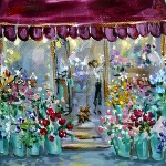 Lunchtime at the Flower Shop – a dog seeks the florist's attention in this original acrylic painting.